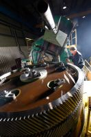 Gear cutting of double helical steel mill gear